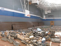 Damage sustained to the Childress High School.