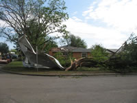 Damage to residential area to the west of the Childress High School.