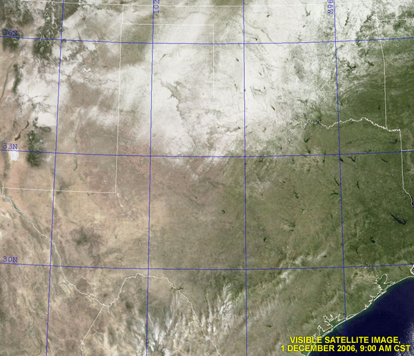 Visible satellite image taken around 9 am on Friday the 1st.