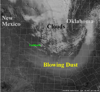 Visible satellite image of clouds and dust across West Texas on 24 February 2007.