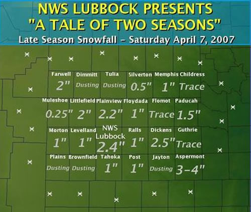 Image displaying the snowfall amounts received on Saturday, 7 April 2007 (image created by Brian LaMarre).
