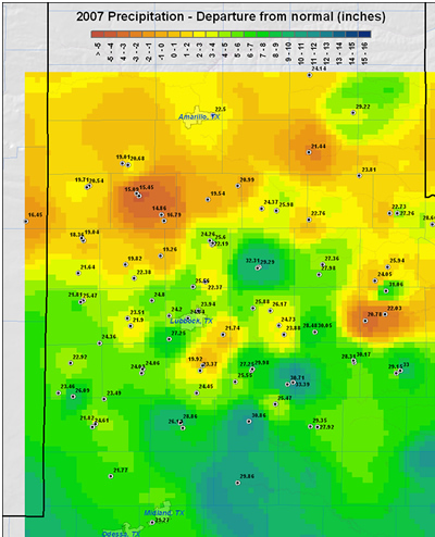 Map of 2007 rainfall departure from normal across the Lubbock County Warning Area.