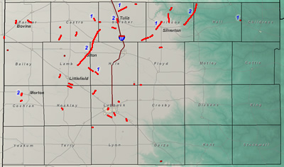Map of the 2007 tornadoes in the Lubbock forecast area