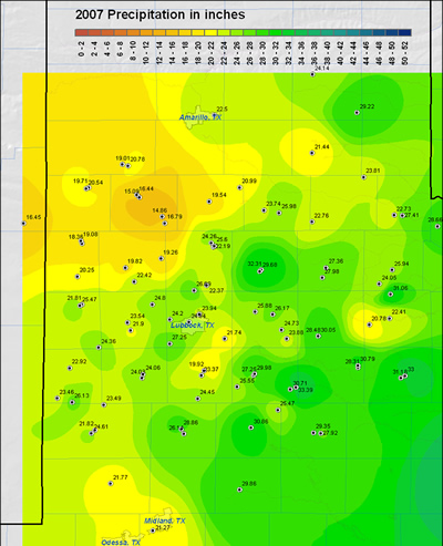 Map of 2007 rainfall across the Lubbock County Warning Area.