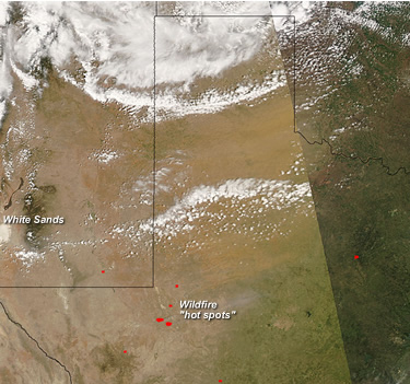 Satellite image from April 10, 2008 showing blowing dust across West Texas