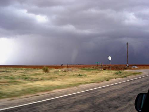 Image of a tornado in southern Dawson County near Sparenberg (northwest of Ackerly) around 3:52 pm on 23 April 2008. The view is looking northeast from the Martin/Dawson County lines southeast of Patricia. Image courtesy of the West Texas Mesonet and Dave Kook. Click on the image for a larger view.