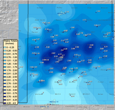 Image of the three day total rainfall