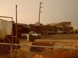 Damage to a city shed in Muleshoe Texas on 25 May 2008. Click on the image for a larger view. Photo taken by Jack Rennels.