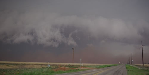 Image of Dust associated with thunderstorms over the northwest South Plains the evening of 25 May 2008.