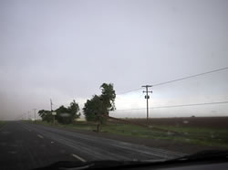 Image of downed power poles take near Littlefield on 25 May 2008. Click on the image for a larger view. Picture by Mark Conder.