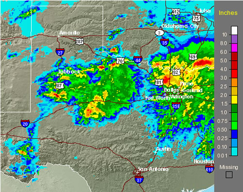 Graphic of bias corrected radar rainfall estimates from the afternoon and evening of 27 May 2008. Click on the image for a more detailed view of raw radar estimated precipitaiton from the Lubbock NWS radar.