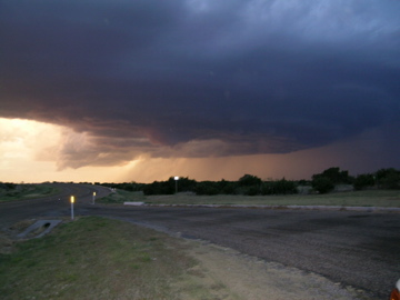 Image of a severe thunderstorm that tracked across northern Briscoe and Hall Counties on 8 June 2008. This image was taken from Highway 86, about 5 miles northwest of Quiteque, looking north around 8:53 pm. Picture courtesy of David Purkiss.