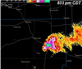 Lubbock radar image of the Childress Storm