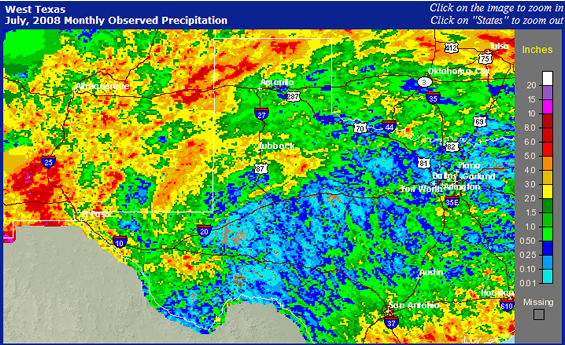 West Texas Rainfall image from the National Weather Service for the month of July