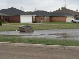 Image 3 of flooding across southwest Lubbock - click to enlarge