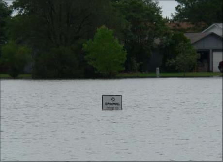 image of a flooded park in southwest Lubbock