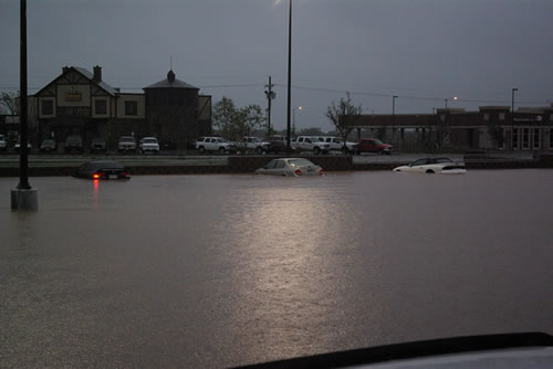 Flooding in the United parking lot at 98th and Quaker on the evening of September 11th. Click on the image for a larger view.