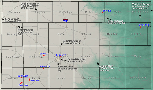 Map displaying the tornadoes that impacted the Lubbock forecast area in 2008. Also shown are other significant weather events of the year. Click on the image for a larger view.