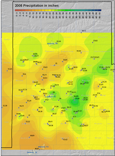 This map displays the 2008 year precipitation totals. The map was created with data gathered from the NWS Cooperative observers and the West Texas Mesonet. Click on the map to view a full-sized version.