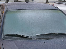 Accumulations of ice on a car windshield in Lubbock on 27 January 2009.