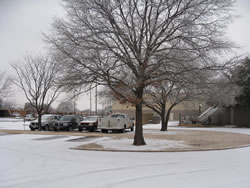Light accumulations of ice and snow in southern Lubbock on 27 January 2009.