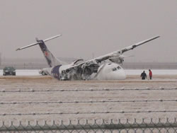 Picture of plane accident that occurred at the Lubbock airport on 27 January 2009. Click on the image for a larger view. Picture by Jody Jame.