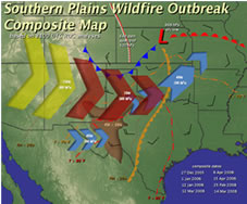 Southern Plains Wildfire Outbreak Composite map.