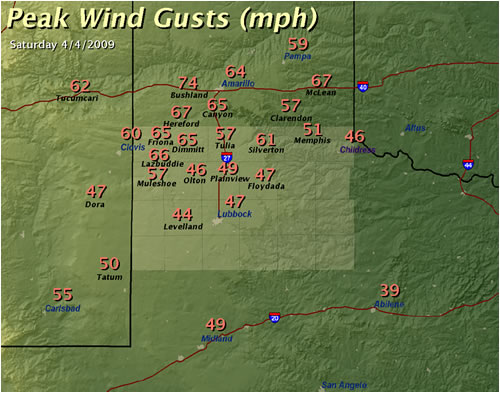 Map displaying maximum measured wind gusts across the region on 4 April 2009. Data is from the West Texas Mesonet, the National Weather Service and the KVII TV Schoolnet.