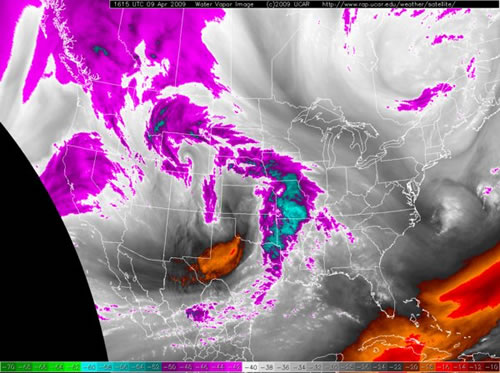 Late morning water vapor satellite imagery (9 April 2009). Click on the image for a larger view.