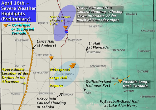A map of some severe weather reports from April 16th