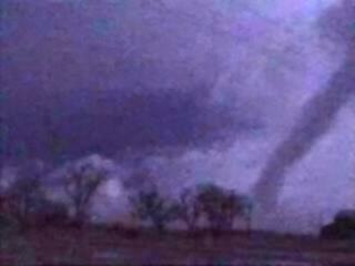 Digitally enhanced picture of a tornado that touched down near the Lubbock/Hale county line the evening of April 16th. The image is courtesy of Bruce Haynie.