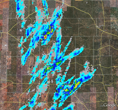 Radar-derived hail swaths from April 16th