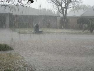 Picture of hail falling in southwest Lubbock on 16 April 2009. Click on the image for a larger view.
