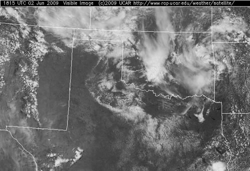 Visible satellite image taken at 1:15 pm on Tuesday, 2 June 2009. This picture was taken before thunderstorms developed across the South Plains, but does nicely depict the northwest to southeast oriented outflow boundary (with a line of cumulus clouds along it). Click on the image for a larger view. The image is courtesy of The National Center for Atmospheric Research.