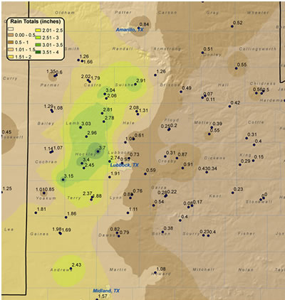Map of rainfall that fell across the region from 19-21 June 2009. The map was created using information gathered by the NWS Cooperative Observers, the Texas Tech West Texas Mesonet, and official NWS observation stations. Click on the image for a larger view.
