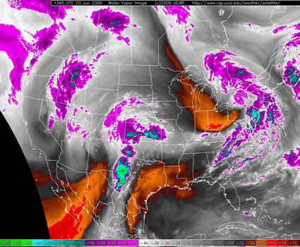 water vapor satellite image from 845 am on Saturday the 20th