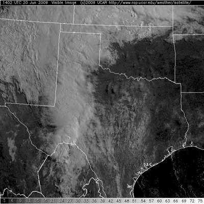 The visible satellite image from around 9 am CDT Saturday morning the 20th.