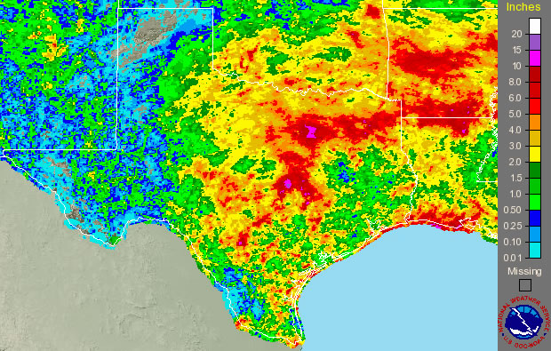 Image of 7-day radar estimated rainfall totals for Texas ending Wednesday morning (16 September 2009).