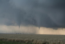 Photograph of two tornadoes across northeast Floyd County - 29 April 2009