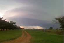 Supercell thunderstorm approaching Paducah - 14 June 2009