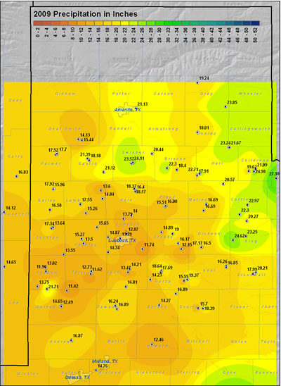 This map displays the 2009 year precipitation totals. The map was created with data gathered from the NWS Cooperative observers and the West Texas Mesonet. Click on the map to view a full-sized version.