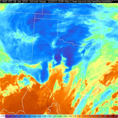 Infrared satellite image of the storm at 10:02 am on January 28, 2010. The deep blues represent colder, taller clouds where heavy precipitation, and in some cases thunderstorms are occurring. Click on the image for a larger view.