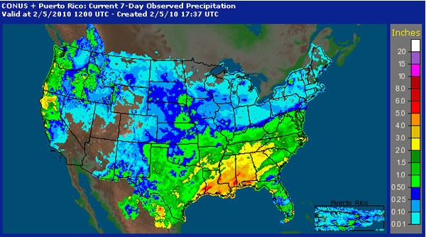 Imaging depicting the 7-day observed precipitation across the United States ending at 6 am CST on February 5, 2010. Click on the image for a larger view.