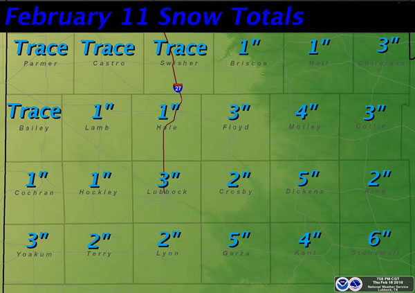 Graphic displaying the amount of snow that fell on February 11th.  Amounts are in inches. Click on the image for a larger view.
