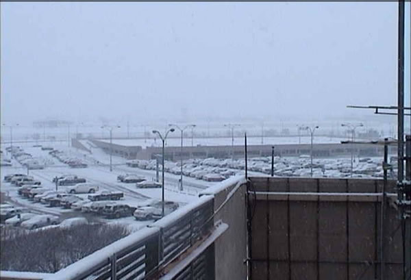 Image of snow falling at the Lubbock Airport during the early morning hours of February 11, 2010. Click on the image for a larger view.