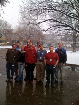 Picture of some of the WFO Lubbock crew taking a brief break to enjoy the snow during the early afternoon of February 11, 2010. Click on the image for a larger view
