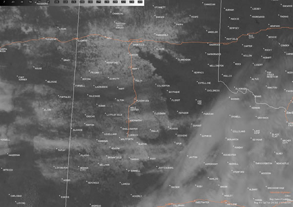 Visible satellite picture taken at 11:01 am on Tuesday, February 23rd, 2010. Clouds cover much of the Rolling Plains and southern South Plains, roughly south of a Estelline to Abernathy to Lovington line. However, the remainder of white on the image indicates widespread snow covering the ground.  Click on the picture for a larger view.