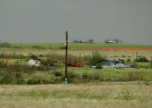 Damage incurred in Cottle County, TX,  from severe storms on the evening of April 22, 2010. Click on the image for a larger view.