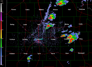 A snapshot of the Lubbock National Weather Service radar on the afternoon of 24 May 2010. The image was taken at 4:16 pm, and shows several hail producing thunderstorms. Click on the image for a larger view.
