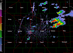 A snapshot of the Lubbock National Weather Service radar on the afternoon of 24 May 2010. The image was captured at 5:22 pm, and displays an organizing storm that eventually produced a brief funnel cloud west of Paducah. Click on the image for a larger view.